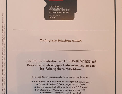 MightyCare Solutions zum Top-Arbeitgeber Mittelstand 2020 ernannt