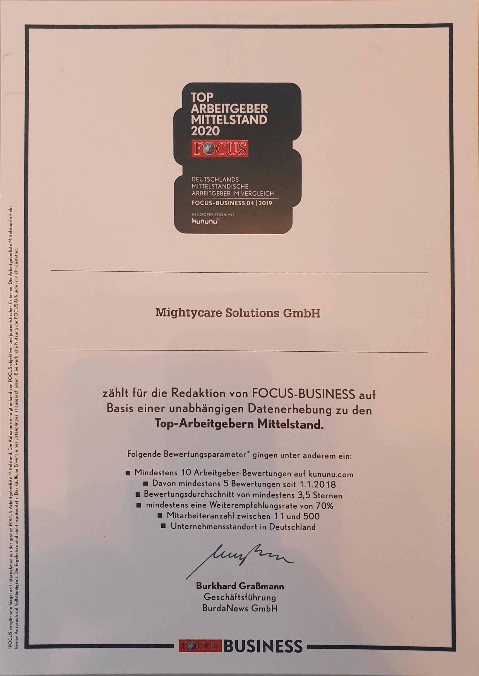 Zertifikat Top Arbeitgeber Mittelstand